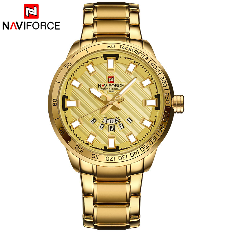 Naviforce Man Luxury Quartz Watch Stainless Steel  Mens Watch Men Clock Auto Date Waterproof Wristwatches Silver Black Gold LX72 ysdx 398 fashion stainless steel self stirring mug black silver 2 x aaa