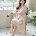 Longa Túnica das mulheres Princesa Sleepwear Cetim De Seda Camisola de Duas Peças Set senhoras Outono & Winte Longo Pijamas sleepwear