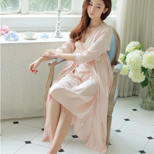 Women s Long Robe Princess Sleepwear Silk Satin Nightgown Two Pieces Set ladies Autumn Winte Long