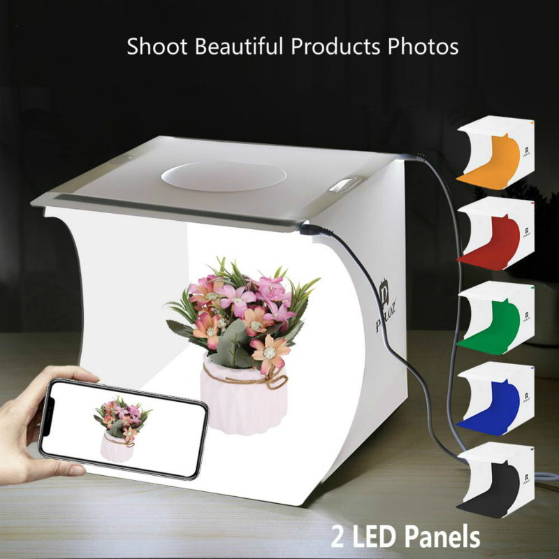 20cm 2 Led Mini Lightbox Product Shoot Light Box Easy Used Photo Studio Softbox Photography Box Light Tent Photo Background Kit Tabletop Shooting     - title=