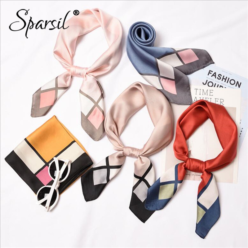 Sparsil 2019 New Women Stain Silk Square   Scarf   Stripe   Wraps   Head Neck Hair Tie Band Neckerchief Fashion Headband Ring Scarf70*70