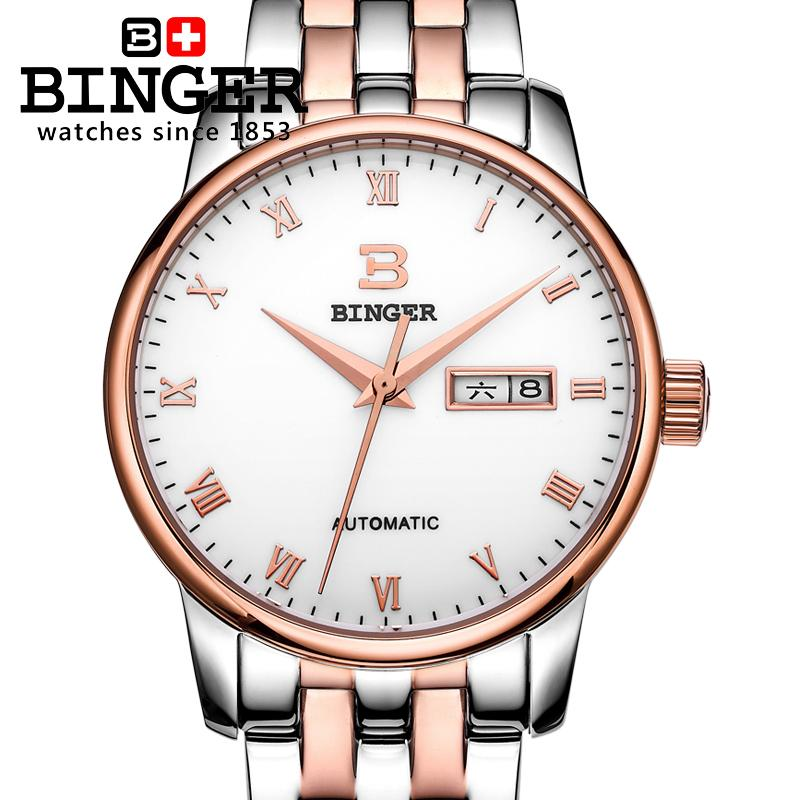 Switzerland mens watch luxury brand18K gold Wristwatches BINGER business Mechanical Wristwatches full stainless steel BG-0399Switzerland mens watch luxury brand18K gold Wristwatches BINGER business Mechanical Wristwatches full stainless steel BG-0399