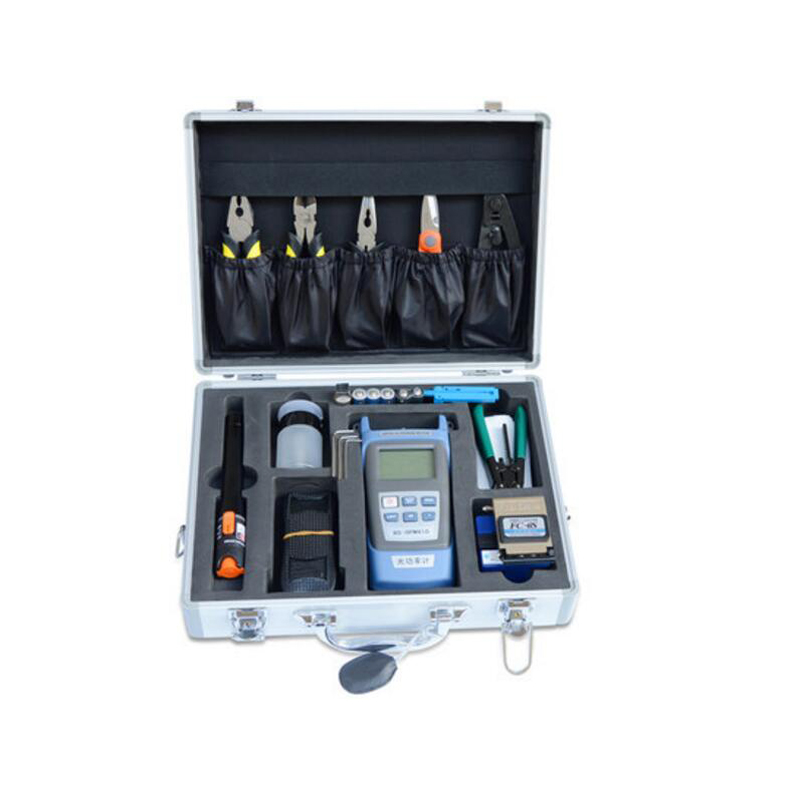 25PCS FTTH FIber Optic toolbox FIber Optic Meter+10MW VFL Visual Fault Locator and FC-6S Fiber Cleaver FTTH fiber splice kit box