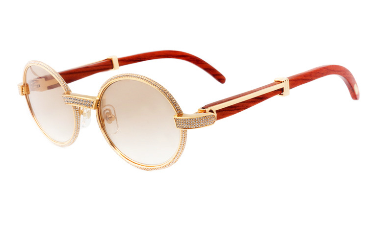 Cartier 55-22 Full Diamond Red Wood Gold Frame Brown Round Lens (1)