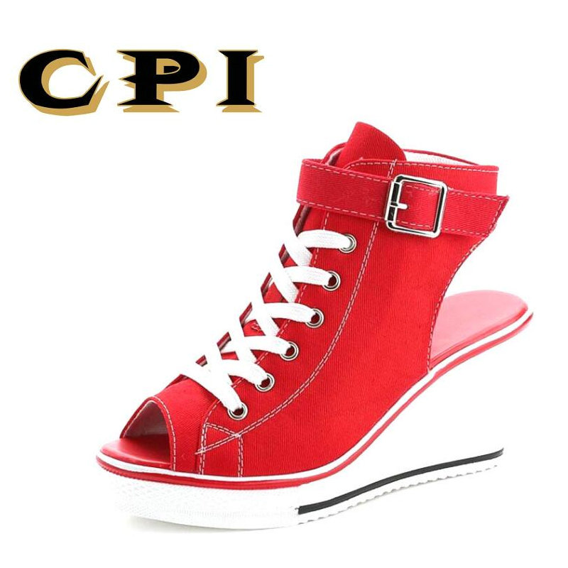 CPI Summer Wedges Canvas Shoes Woman Platform Sandals Ladies Open Toe Breathable Shoe Women Casual Shoes Platform Wedge NX-043 summer shoes woman platform sandals women soft leather casual open toe gladiator wedges women nurse shoes zapatos mujer size 8