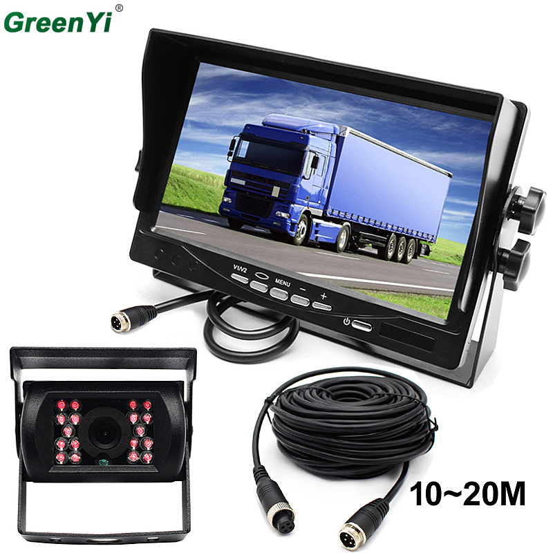 GreenYi 12V-24V Bus Truck Trailer Car Reversing Rear View Kit 7 Color HD LCD Monitor + LED IR Night Vision Waterproof Reversing free shipping 12 24v dc wireless back up reversing camera system kit 7 rear view lcd monitor for truck bus van trailer