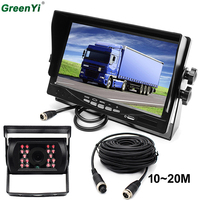 GreenYi 12V 24V Bus Truck Trailer Car Reversing Rear View Kit 7 Color HD LCD Monitor + LED IR Night Vision Waterproof Reversing