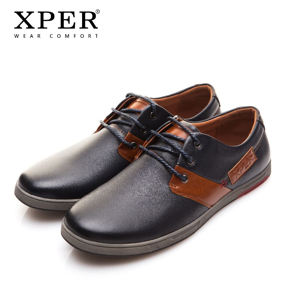 2018 XPER Leather Casual Shoes Men Fashion Flats Shoes Comfortable Footwear Spring Autumn Male Walking Shoes Lace-Up #XAF86665 все цены