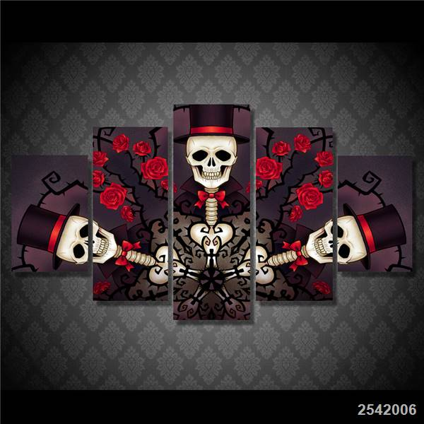 ⊱HD imprimió el cráneo y Las Rosas Pintura sobre tela decoración de ...