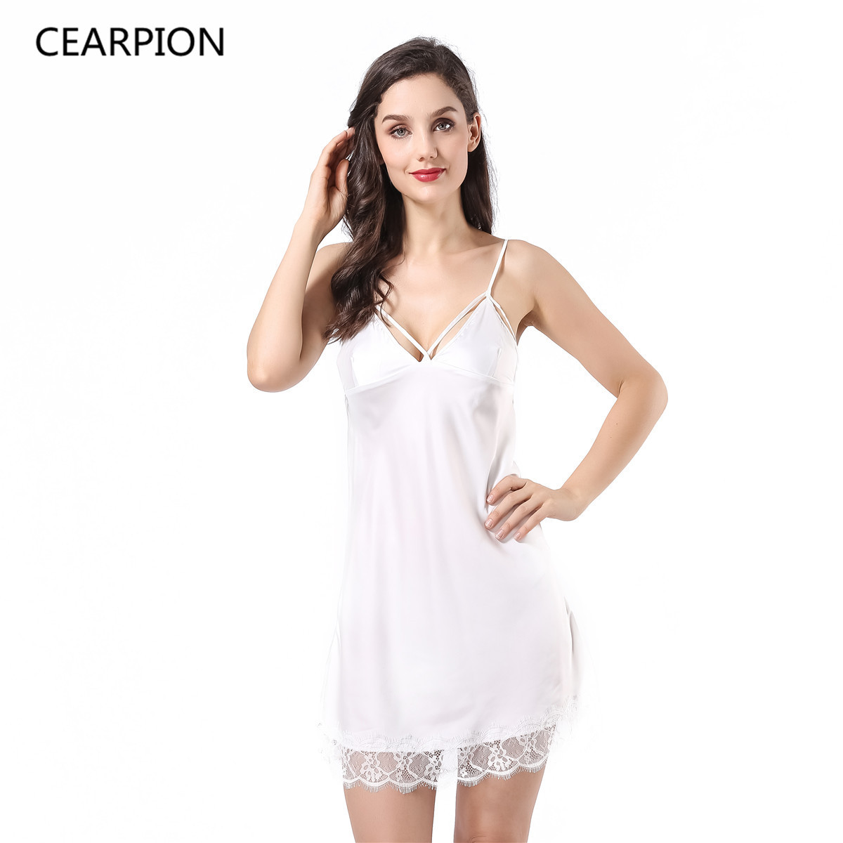 9045006b021 CEARPION Sexy Lace Nightgown Women s Nightwear Summer Sleepwear Bride  Bridesmaid Wedding Dress Gown Satin V-