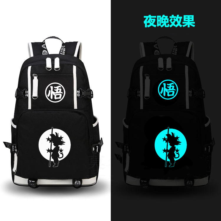 anime Dragonball Z Son Goku Noctilucent Backpack Black school bag Daily backpack Cosplay Computer Noctilucent Backpack pastan heroes in disguise – poems cloth