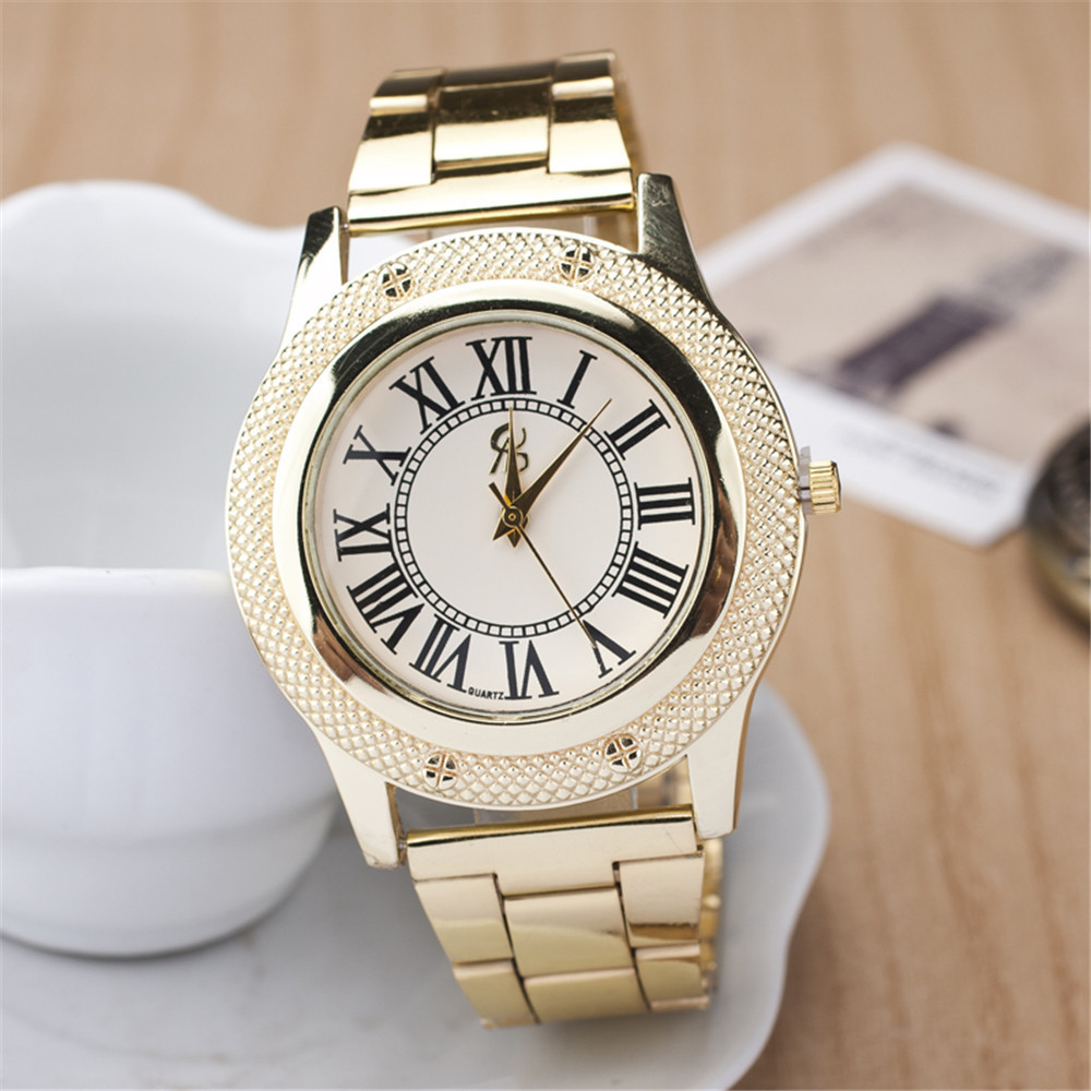 2015 New Famous Brand Women Gold Geneva Litchi Stainless Steel Quartz Watch Casual Analog Watches Relogio Feminino Hot Sale Hour new ybotti famous top brand gold crown casual quartz watch women stainless steel watches relogio feminino ladies clock hot sale