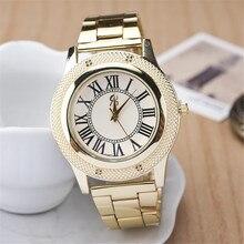 цены 2015 New Famous Brand Women Gold Geneva Litchi Stainless Steel Quartz Watch Casual Analog Watches Relogio Feminino Hot Sale Hour