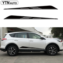 car sticker 2PC side door cool racing stripe graphic vinyls protect accessory modified decorate decal custom For toyota rav4