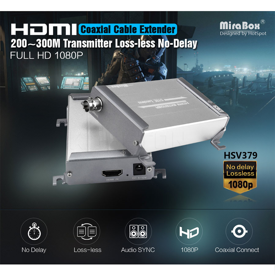 New HSV379 1080P HDMI Extender LossLESS HDMI Over Single RG59/RG-6U Extender (Sender and Receive) For DVR DVD Home Theather hsv379 hdmi over coaxial extender support 1080p hdmi over single rg59 rg 6u coax cable extender for dvr dvd home theater