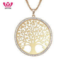High Quality Big Tree of life Crystal Necklace 3 Chains pendentif Elegant Long Maxi Female Collier Jewelry Gift 54*54mm