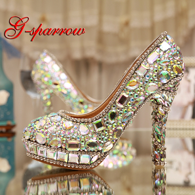 Bling Bling AB Crystal Wedding Shoes Handmade Rhinestone Stiletto Heel 12cm Bridal Dress Shoes Cinderella Prom Pumps Big Size 11 таблетки для посудомоечных машин all in one silver 56 шт paclan ра 020014