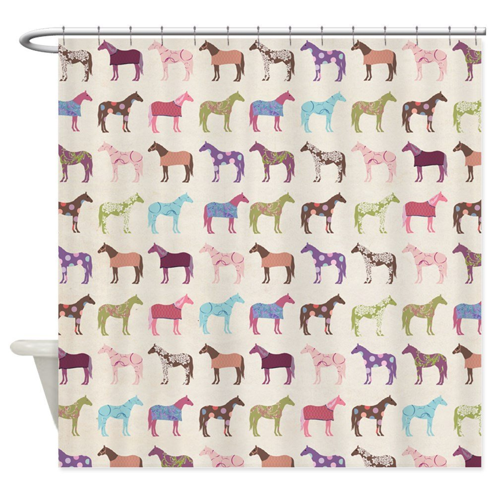 Colorful Horse Pattern - Decorative Fabric Shower Curtain (69x70)