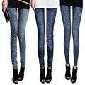 Hot sale women imitation denim jeans leggings cowboy elastic printing leggings black blue thin slim nine points leggins WL006