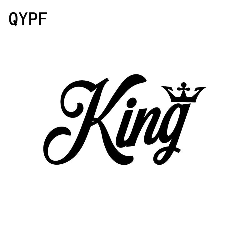 QYPF 14.6cm*8.1cm Fashion KING CROWN Motorcycle Decal Black Silver Vinyl Car Sticker Accessories C15-1510