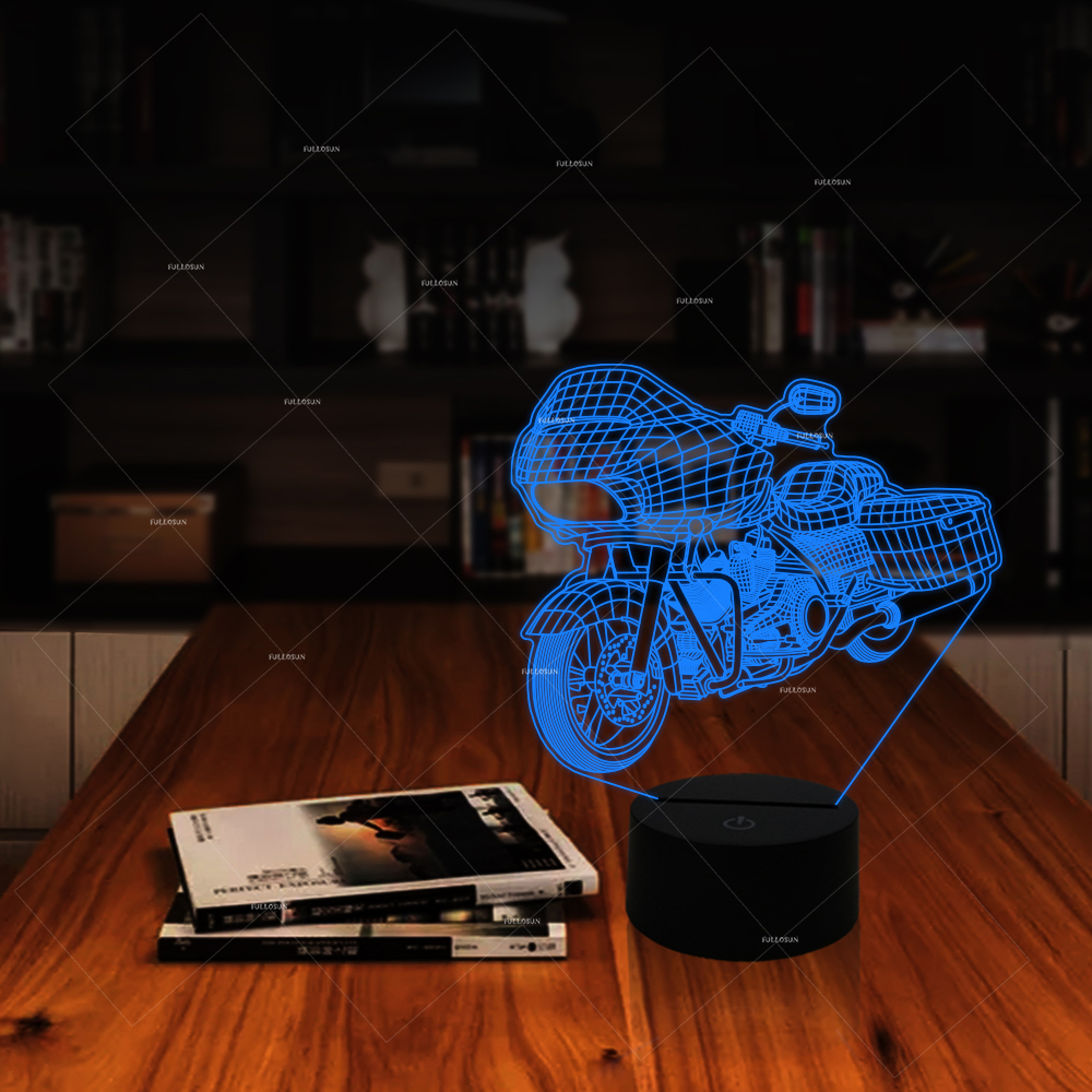 Car Addiction 3D motorcycle shape LED night light 7 changing colors ...