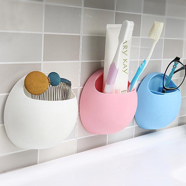 Venta caliente cepillo de Dientes Taza Sostenedor de la Succión Organizador Baño Cocina Almacenamiento De Herramientas caja de almacenamiento de 11*10.5*5 cm 4 colores