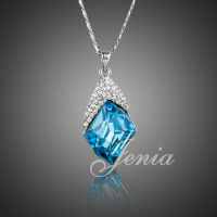 Jenia 18K White Gold Plated Semi Precious Stone Necklace Ocean Blue Austrian Crystals Pendant Necklace XN138