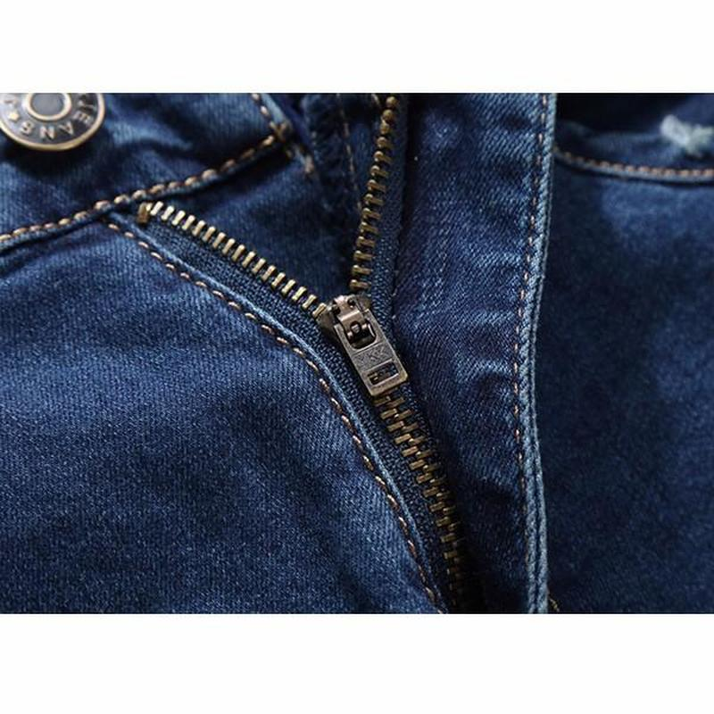 Men Jeans Business Casual Big Size 48 Elastic Cotton Mid-rise Jeans Fashion Casual Straight Legs Denim Pants Trousers Cowboys
