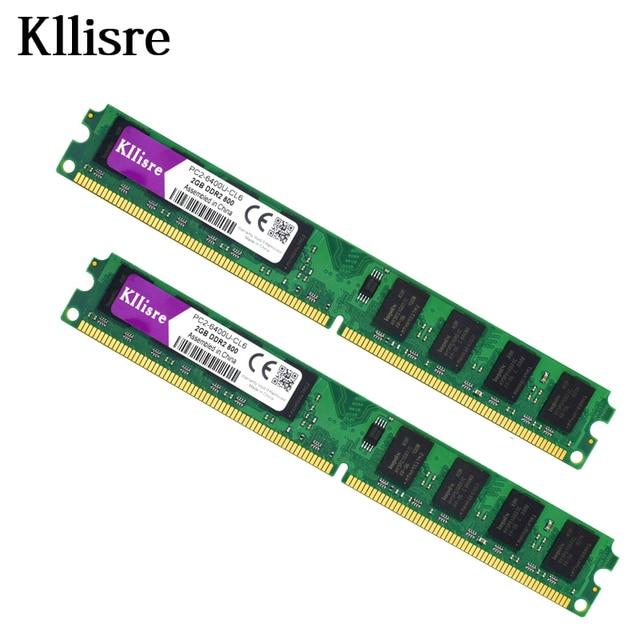 Kllisre 4 GB (2 unids X 2 GB) DDR2 2 GB Ram 800 Mhz 240Pin PC2-6400U 1.8 V CL6 Memoria de Escritorio