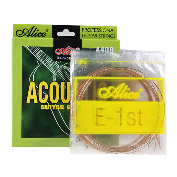Alice A408 Acoustic Guitar Strings Coated Copper Alloy Wound 1st-6th Strings 012-053, Single String also Available