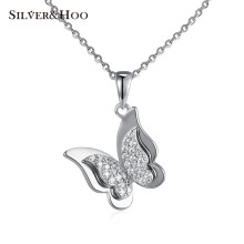 SILVERHOO 925 Sterling Silver Pendant Necklace Dancing Butterfly Clear CZ Pendants Necklace Fine Jewelry for Women