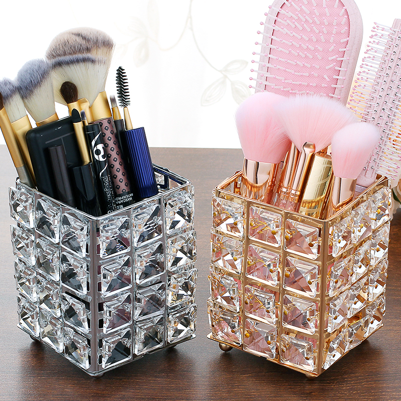 Metal Crystal Square Makeup Organizer Box Brush Sorting Storage Tube Sorting  Jewelry Desktop Decorative Ornaments