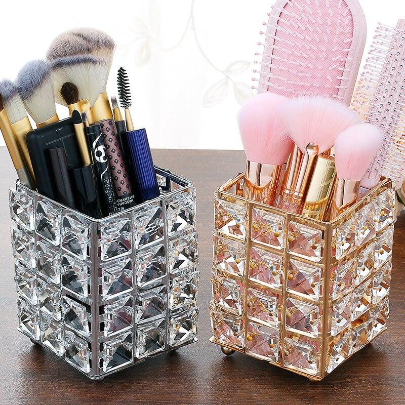 Metal Crystal Square Makeup Organizer Box Brush Sorting Storage Tube Sorting Jewelry Desktop Decorative Ornaments