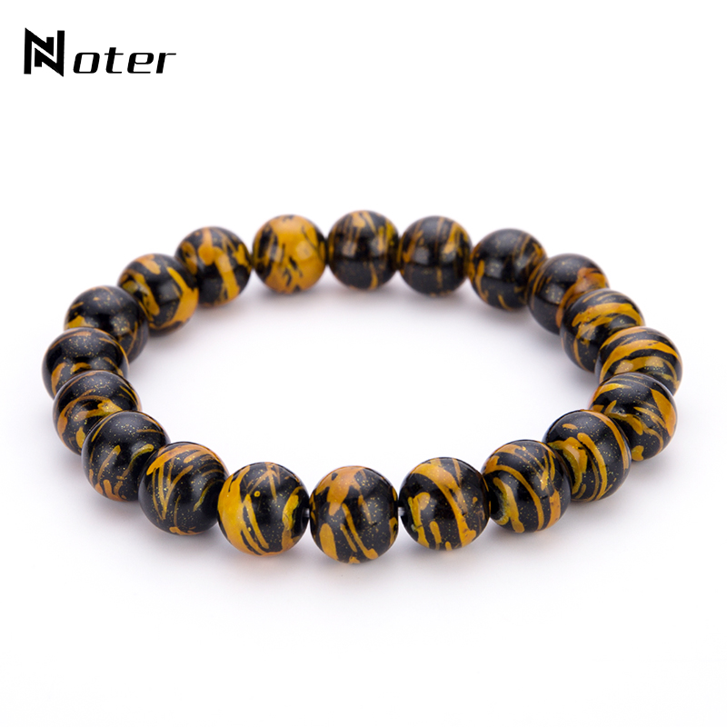 Noter 6 Color Graffiti Natural Stone Beads Male Buddha Bracelet Minimalist 10 mm Bead Braslet For Mens Yoga Jewelry Pulseira