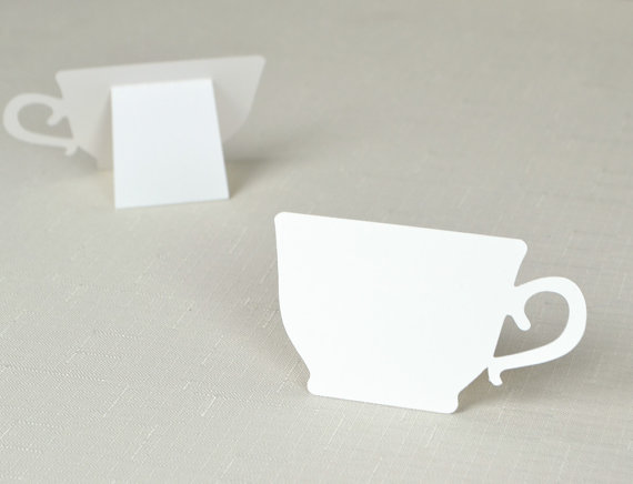 Tea Cup shaped Place cards Wedding bridal baby shower Party seating table number name Tented Escort Cardpc001