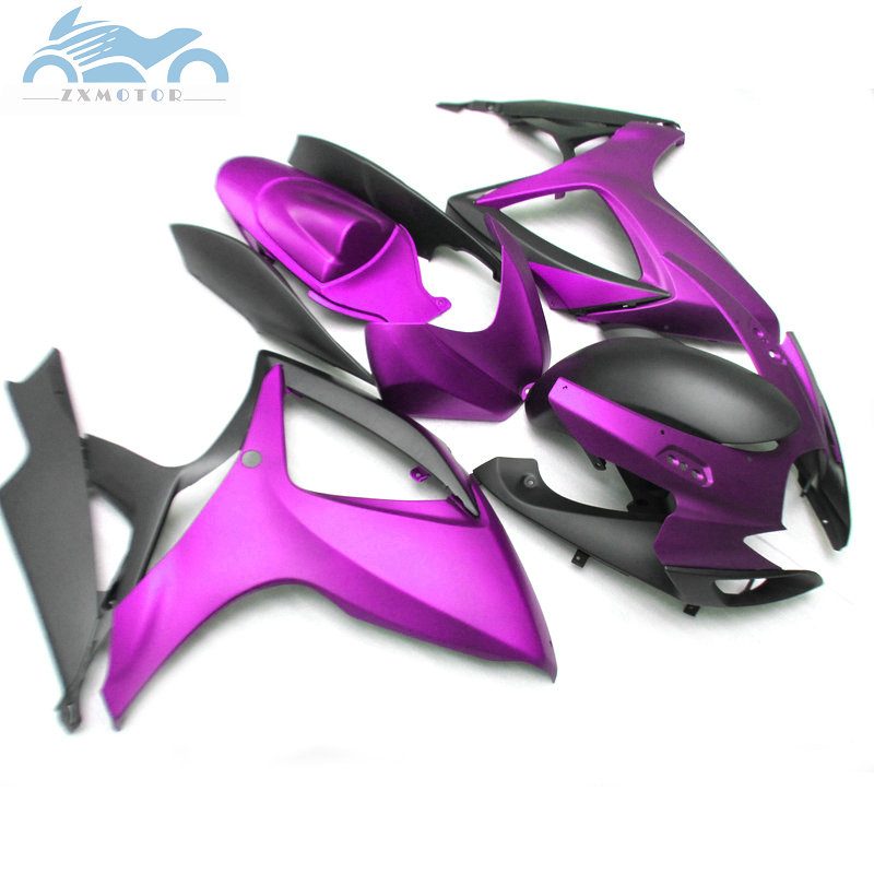 Free Custom Injection <font><b>Fairing</b></font> for Suzuki <font><b>GSXR</b></font> <font><b>600</b></font> <font><b>2006</b></font> 2007 GSXR600 750 ABS <font><b>fairings</b></font> kit GSXR750 K6 06 07 purple black PL5 image