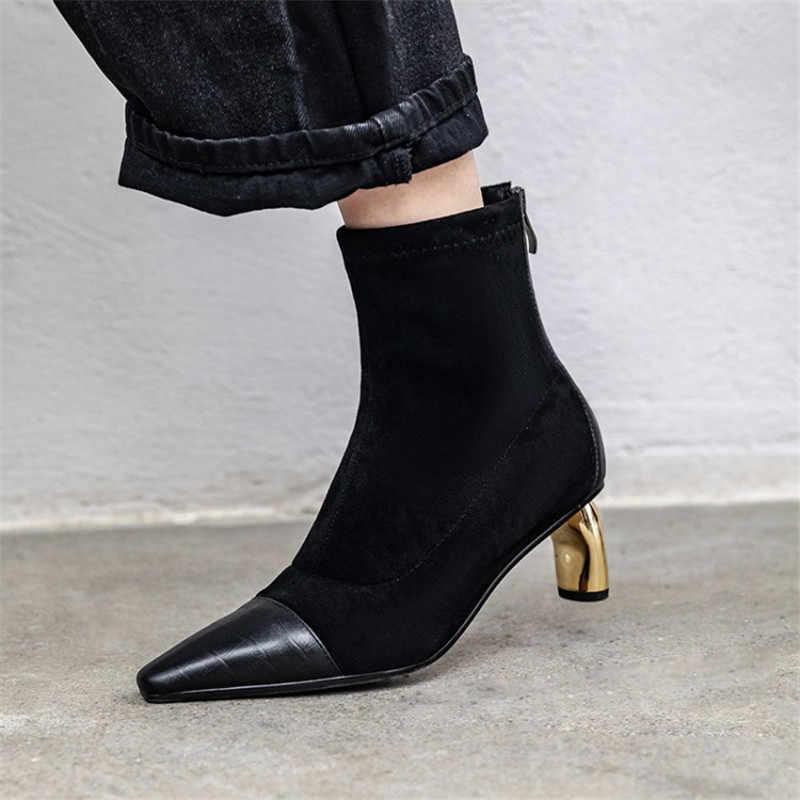Altın Metal boru yüksek topuk yarım çizmeler Elastik Streç Slim Fit Patik feminina sivri burun yarım çizmeler kadınlar için 2019 Sonbahar