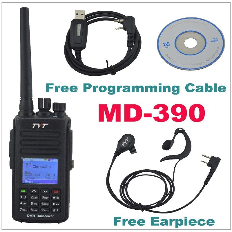 TYT MD-390 DMR Walkie Talkie MD390 UHF400-480MHz GPS Radio Bidirezionale IP67 Impermeabile Transceiver + cavo di Programmazione CD & Auricolare