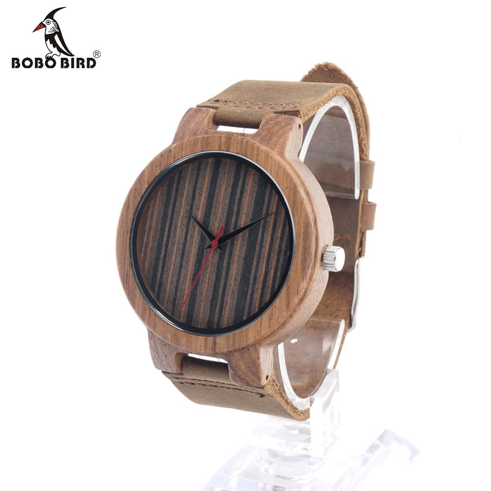 ФОТО BOBO BIRD C17 Mens Watch Real Leather Band Antique Zebra Wood Watches With Red Anlaogue Display Bamboo Wooden Watches Gift Box