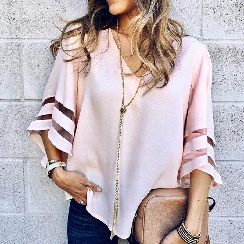 women blouse 2019 fashion retro shirt womens elegance sexy top ladies plus size tops shirts clothes