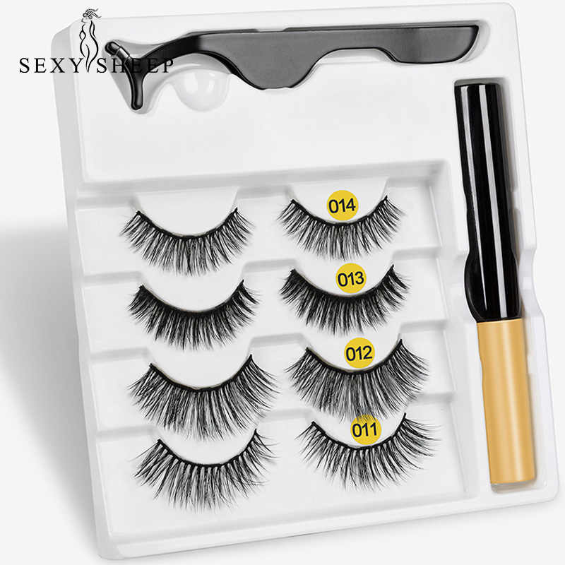 3/4 Pairs Eyelash Magnetic Eyeliner& Magnetic False Eyelashes & Tweezer Set Long Lasting Eyelash Extension Reusable Sofe Eyelash