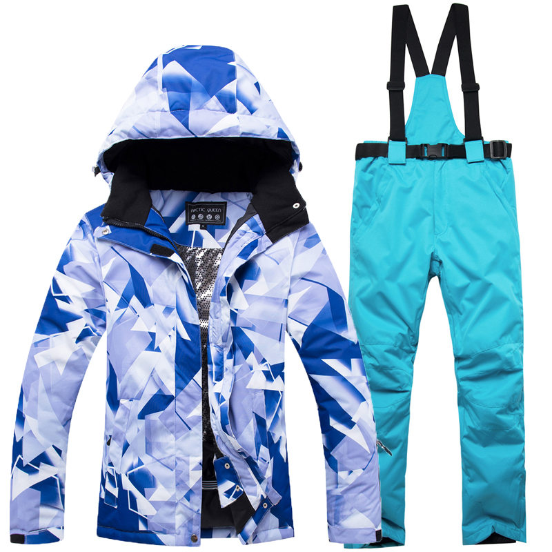 цена 2019 New Cheap Women Snow suit sets Outdoor Sports Wear Snowboarding Clothing Waterproof windproof ski jacket and bib snow pant