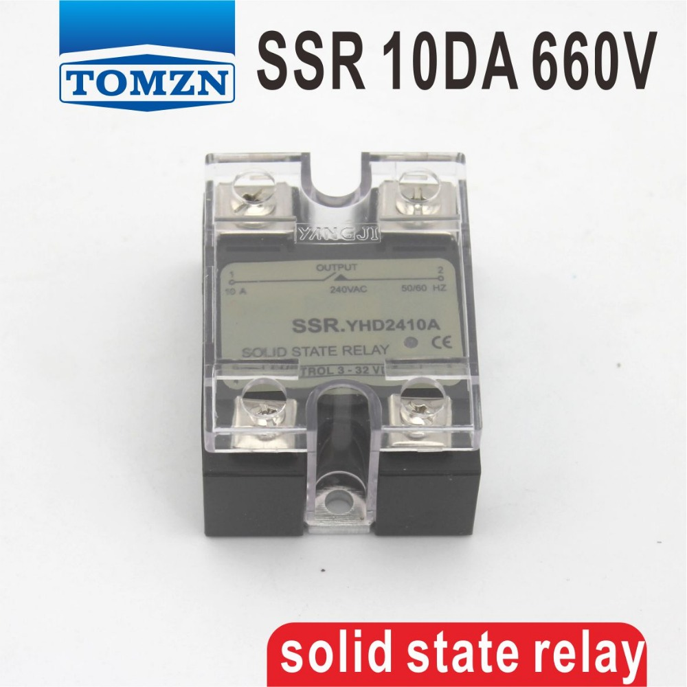 10DA SSR Control 3-32V DC output 48~660VAC High voltage single phase AC solid state relay 20dd ssr control 3 32vdc output 5 220vdc single phase dc solid state relay 20a yhd2220d