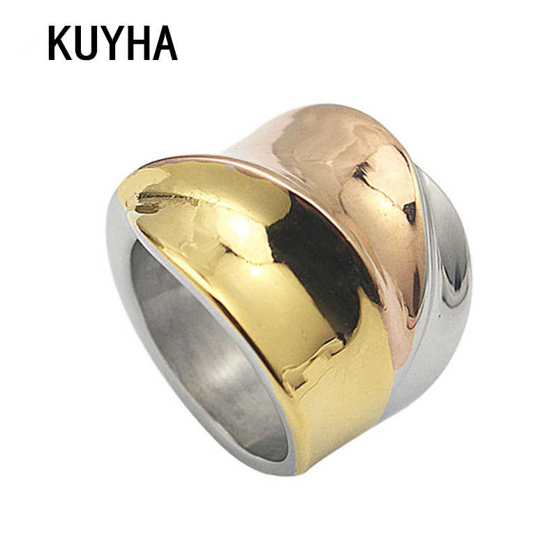 Stainless Steel Rings for Women Size 6, 7, 8, 9 Silver Gold/Rose Gold Color 3 color Mix Big Irregular Bague Jewelry