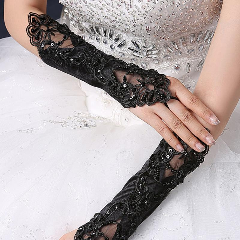 Vintage Women Lace Fingerless Long Glove Cosplay Lace Hollow-Out Gloves 1 Pc