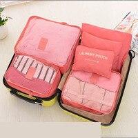 6pcs Set Thicken Travel Storage Bag Portable Travel Mesh Bag Case Toiletry Clothes Underwear Hanging Storage