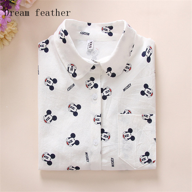 Loose Elegant Long Sleeve cotton Blouse Tops Casual cat Print