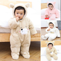Baby Rompers Winter Clothes Baby 2018 Thicken Soft Flannel Winter Overalls Newborn White Brown Pink Long Sleeve Baby Romper