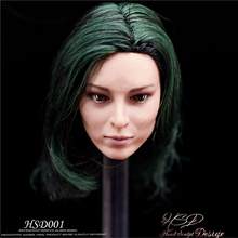 1/6 Scale Emma Dumont Head Sculpt With dark green Hair Polaris European Star Carving 12 Figure short white Painted