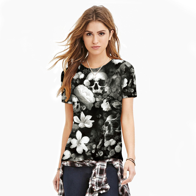 New Summer Couple Clothes Gothic Style T-shirt  3D Skull & Flower Printing Women Men Short Sleeve Slim Casual Shirts Femme Mujer